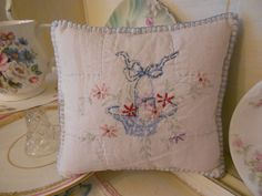 Antique quilt shabby chic embroidered cushion £12.00