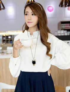 Beautiful korean-styled 2016 loose-fit shirt-top, stylish and trendy.   Use www.chinaebuys.com to buy and ship products like these from Meilishuo.com and other China-based websites!  #koreanstyle #fashion #shirt #Chinaebuys #Meilishuo #trendy