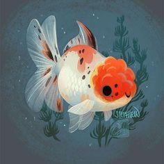 Fish Drawings, Cute Animal Drawings, Cute Drawings, Oranda Goldfish, Cute Fish, Fish Illustration, Fish Art, Animal Design, Cute Art