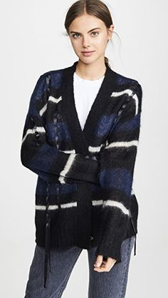 $416.5. 3.1 PHILLIP LIM Top Oversized Mohair Striped Cardigan #31philliplim #top #knit #cardigan #clothing Lace Up Espadrilles, Striped Cardigan, Knit Cardigan, Tie Front Blouse, Cardigan Fashion, China Fashion, 3.1 Phillip Lim, S Models