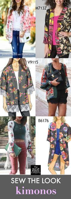 Sew the Look: Kimonos are on-trend for the summer. Choose McCall's M7132, Vogue Patterns V9115 or Butterick B6176 kimono sewing patterns.