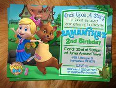 Goldie & Bear Birthday Invitation (digital file) by KStewardDesigns on Etsy