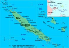 Map of New Caledonia. New Caledonia has a population of 240,400