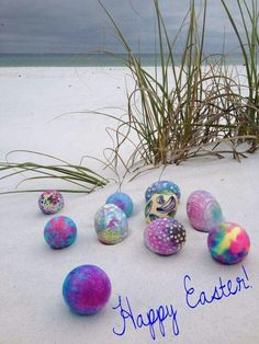 Easter eggs in the beach