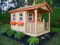 Wood playhouse backyard landscaping ideas for kids | Design Friendly