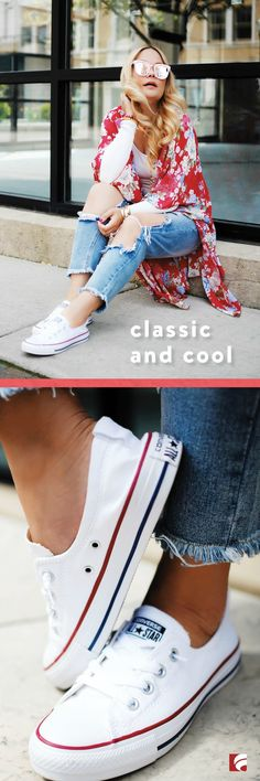 Slip on a classic look and be on your way in the Chuck Taylor All Star Shoreline! This easy slip-on sneaker goes with everything, and can be dressed up with a sundress or dressed down with a printed kimono and jeans. The Shoreline features a canvas upper in a slip-on style and lace up design with elasticized collar for easy on and off fit.