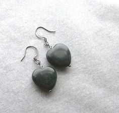 Blackstone Heart Earrings Ghosts of the Past Grey by HrtsofStone, $18.00