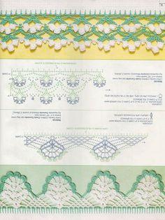 Crochet Dollies, Crochet Lace Edging, Crochet Borders, Crochet Diagram, Crochet Stitches Patterns, Crochet Chart, Crochet Trim, Knitting Stitches, Crochet Flowers