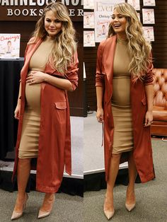 Chrissy Teigen Gets Criticized for Selecting Baby's Gender via IVF as She Signs 'Cravings' Book in Kurt Geiger 'Britton' Pumps Fall Maternity Outfits, Stylish Maternity, Pregnancy Outfits, Maternity Dresses, Maternity Fashion, Pregnancy Dress, Pregnancy Fashion, Baby Bump Style, Mom Style