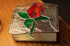 Stained Glass Red Rosebud Box  Mother's Day by Stainedglasslove