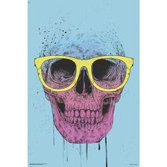 Pop Art Skull with Glasses - Poster van Pop Art Skull with Glasses
