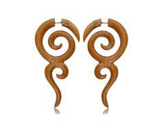 Fake Gauge- Wooden Earring-  Spiral wooden- Gauge earrings. by NELAJAPAN on Etsy