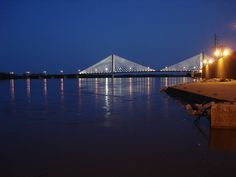 The bridge lit up at night in downtown Cape Girardeau, MO.  By P-Blog, via Flickr