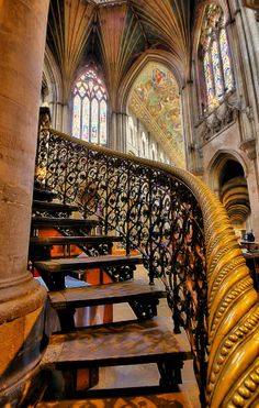 Beautiful Stairs of Ely Cathedral, Cambridgeshire England