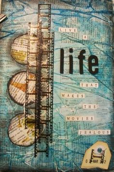 Artful Fancies: tissue paper, filmstrip ribbon  http://artfulfancies.blogspot.com.au/2012/03/art-journal-share.html#: