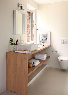 Resultado de imagen de baño roble blanco lavabo encima
