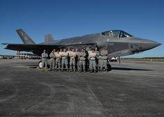 Airmen from Eglin Air Force Base, Fla., stand in front of an F-35 Lightning II Dec. 15 at the Tyndall AFB flightline. Team Eglin Airmen came to Tyndall in support of the Checkered Flag 16-1 exercise, a large-force exercise that simulates employment of a large number of aircraft from a simulated deployed environment. (U.S. Air Force photo by Senior Airman Sergio A. Gamboa/Released) Eglin Air Force Base, Defuniak Springs, Commercial Plane, Checkered Flag, Florida Home, Helicopters, Military Aircraft, Airplanes, Lightning