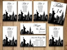 Instantly download and print your own table number cards and wedding seating chart featuring silhouette designs of New York City. Just