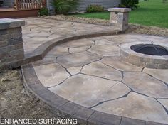 Stamped Patio Firepit | Fire Pit Patio Concrete Overlay Findlay OH