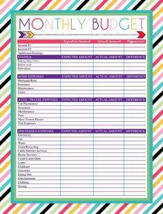 budget charts printable