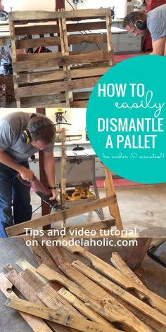 Wooden Pallet Projects The easy way to dismantle a pallet, in under 10 minutes, without breaking sweat! Plus everything you need to know to choose a good pallet for your next pallet project (and some great pallet building tutorials to get you started! Wooden Pallet Projects, Pallet Crafts, Diy Pallet Furniture, Pallet Ideas, Palette Furniture, Wood Crafts, Diy Crafts, Used Pallets, Recycled Pallets