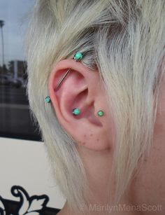 Green opal industrial, conch and tragus