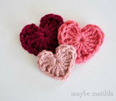 Crochet Valentine Hearts Tutorial from Maybe Matilda
