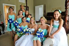 The combination of the dark blue flowers and light blue dresses. omg I love it