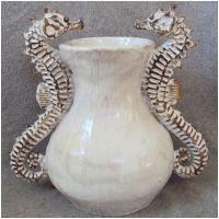 Double Seahorse Vase Ceramic Sculpture