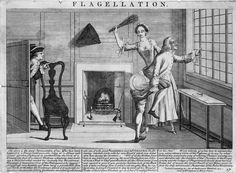 Flagellation engraving 1732 by John June, Library of Congress, Washington D.C, from 'The History & Arts of the Dominatrix' book by Anne O Nomis, ISBN 9780992701000