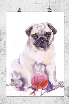 SALE Dog art, painting , pug gift, watercolor ,... - ValRART