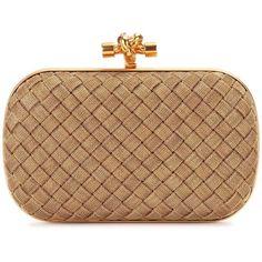 Bottega Veneta Knot Clutch (12 235 PLN) ❤ liked on Polyvore featuring bags, handbags, clutches, borse, gold, gold handbags, beige purse, bottega veneta handbags, gold clutches and gold purse