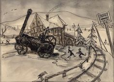 Alfred Kubin | Dampfmaschine im Winter - steam engine in winter | um 1925 | Albertina, Wien