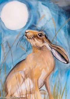 'Moon gazing hare' Limited Edition signed Giclee Print