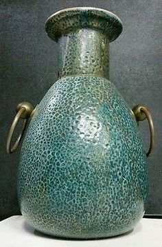 Vintage Mid Century Signed Numbered Tony Evans Raku Ceramic Pottery Vessel Sculpture Vase Planter Umbrella Pot Holder with Textured Elephant Skin Iridescent Glaze large heavy Brass Ring Handles STUNNING PIECE from multimillionaire southern estate with FREE PRIORITY SHIPPING @ www.iBidBuyShip.com!