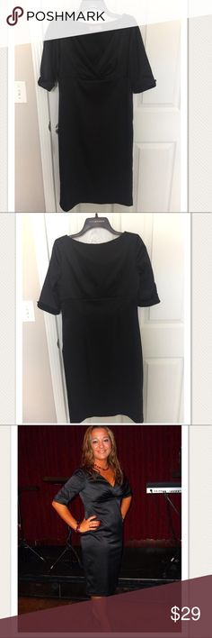 Black satin 3/4 sleeve cocktail dress, size 8. Very beautiful and comfortable. Worn 2 times. Excellent condition and quality. Eliza J Dresses Midi