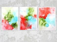 Triptych painting by Renae Schoeffel.