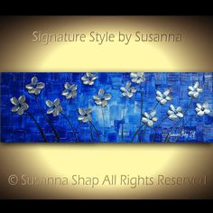 ORIGINAL Contemporary Daisy Flowers Silver Blue Painting Textured Floral Modern Palette Knife Art  by Susanna 36x12