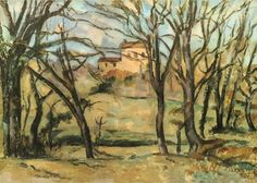 """Paul #Cézanne """"Trees and Houses"""" / $144 - $544 incl.20% VAT and Shipping / Click http://mondialart.co.uk/product/trees-and-house/ #art #painting #mondialart #replica"""