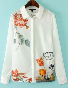 Floral Print White Blouse 20.00