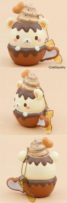 Kawaii Puni Maru Yumiibear mug squishy with dripping chocolate sauce and heart!