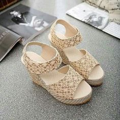 Women Sandals 2018 New Summer Fashion Lace Hollow Gladiator Wedges Shoes Woman Slides Peep Toe Hook & Loop Solid Lady Casual Wedge Sandals, Wedge Shoes, Sandals 2018, Women's Shoes, Heeled Sandals, Womens Summer Shoes, Womens Shoes Wedges, Lace Wedges, Lace