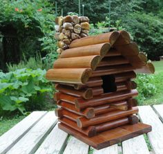 Rustic Cherry Log Cabin Birdhouse with Stone Mosaic Fireplace