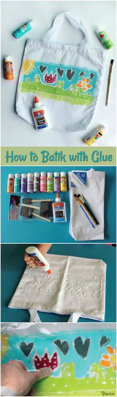 Learn how to batik with glue in this resist painting tutorial for kids. You won't believe how easy this technique is for kids and adults alike!