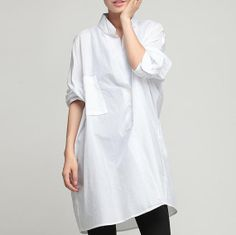 Standing Collar Loose Fitting Linen Long Shirt Blouse for Women - Black White