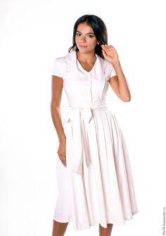Купить Элегантное Льняное Платье С Бантом - белый, однотонный, льняное платье, льняная одежда
