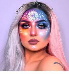 Galaxy Makeup Art hangin' out on a layover to orlando & i havent painted lately so im feelin' a bit Rave Makeup, Fx Makeup, Body Makeup, Makeup Eyeshadow, Face Makeup Art, Cheer Makeup, Makeup Geek, Makeup Brush, Special Makeup