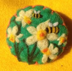 Needle felted brooch, handmade unique gift - spring flowers And Bees | eBay