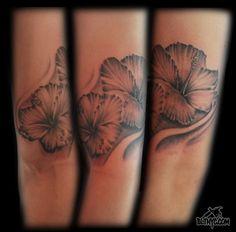 Black and Gray Flowers Arm Tattoo by Carlos at Body Language Tattoo NYC #cutetattoo #flowertattoo #tattoo