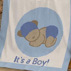 Crochet Pattern   Baby Blanket / Afghan - It's a Boy